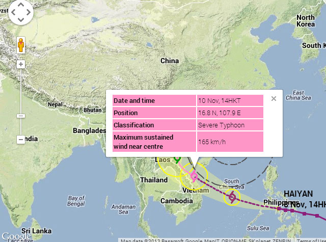 Dự báo bão Haiyan của Hong Kong