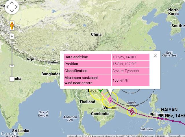 Quốc tế dự báo về siêu bão Haiyan khi vào Việt Nam