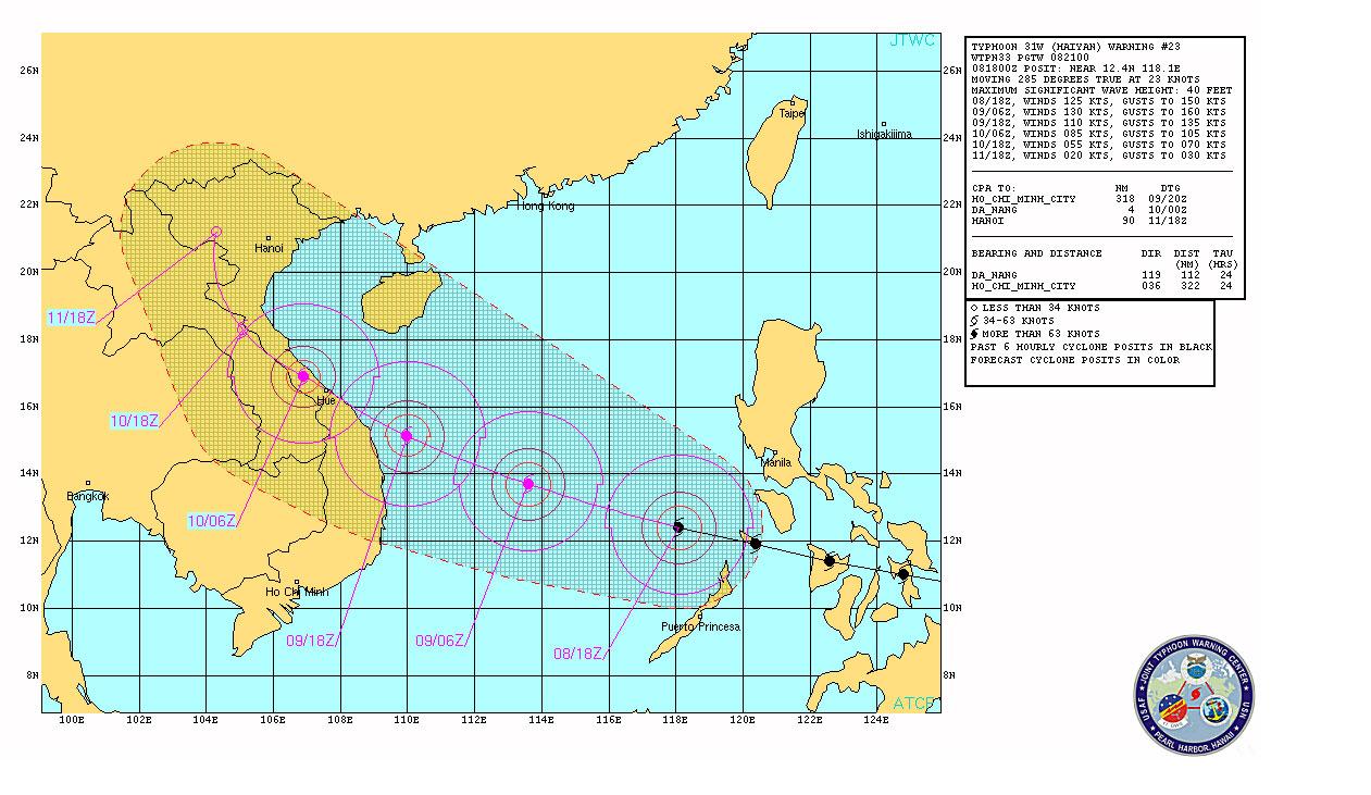 Dự báo mới nhất của Hải quân Mỹ về bão Haiyan.