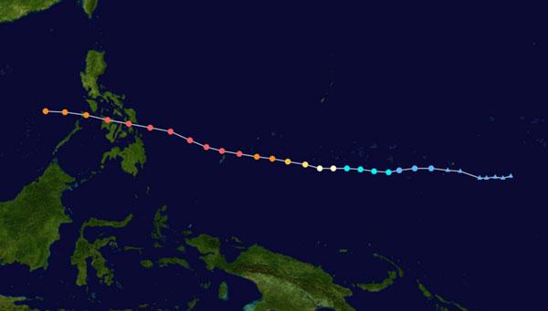 Đường đi của bão Haiyan từ khi mới hình thành