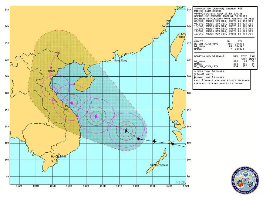 Hải quân Mỹ dự báo bão Haiyan: giảm cường độ, đi chệch hướng