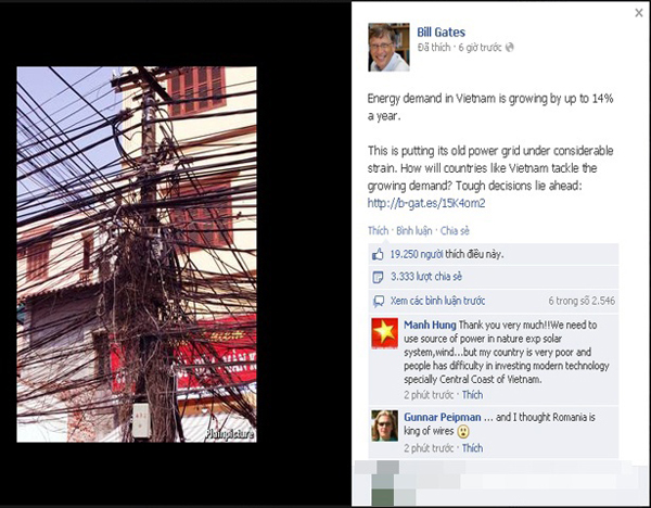 """Bill Gates """"choáng"""" khi thấy cột điện Việt Nam"""