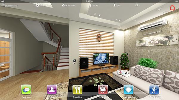 Giao diện điều khiển là hình ảnh 3D mô phỏng chính ngôi nhà của bạn