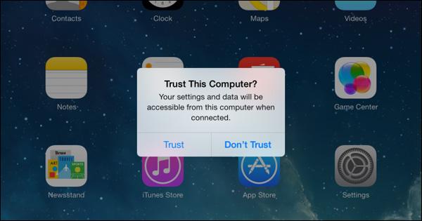 iPad hỏi Trust This Computer?